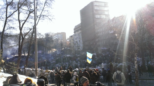 The barricades on Hrushevsky Street, the site of one of the worst battles of the Maidan (as of February 1, 2014). The black clusters in the distance on the far left, are Berkut behind their shields.