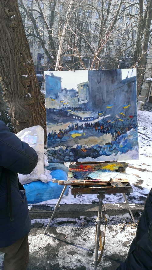 Some people can't help but create amidst all the destruction. The outpouring of art, including this painting-in-progress at subzero temperatures, was stunning.