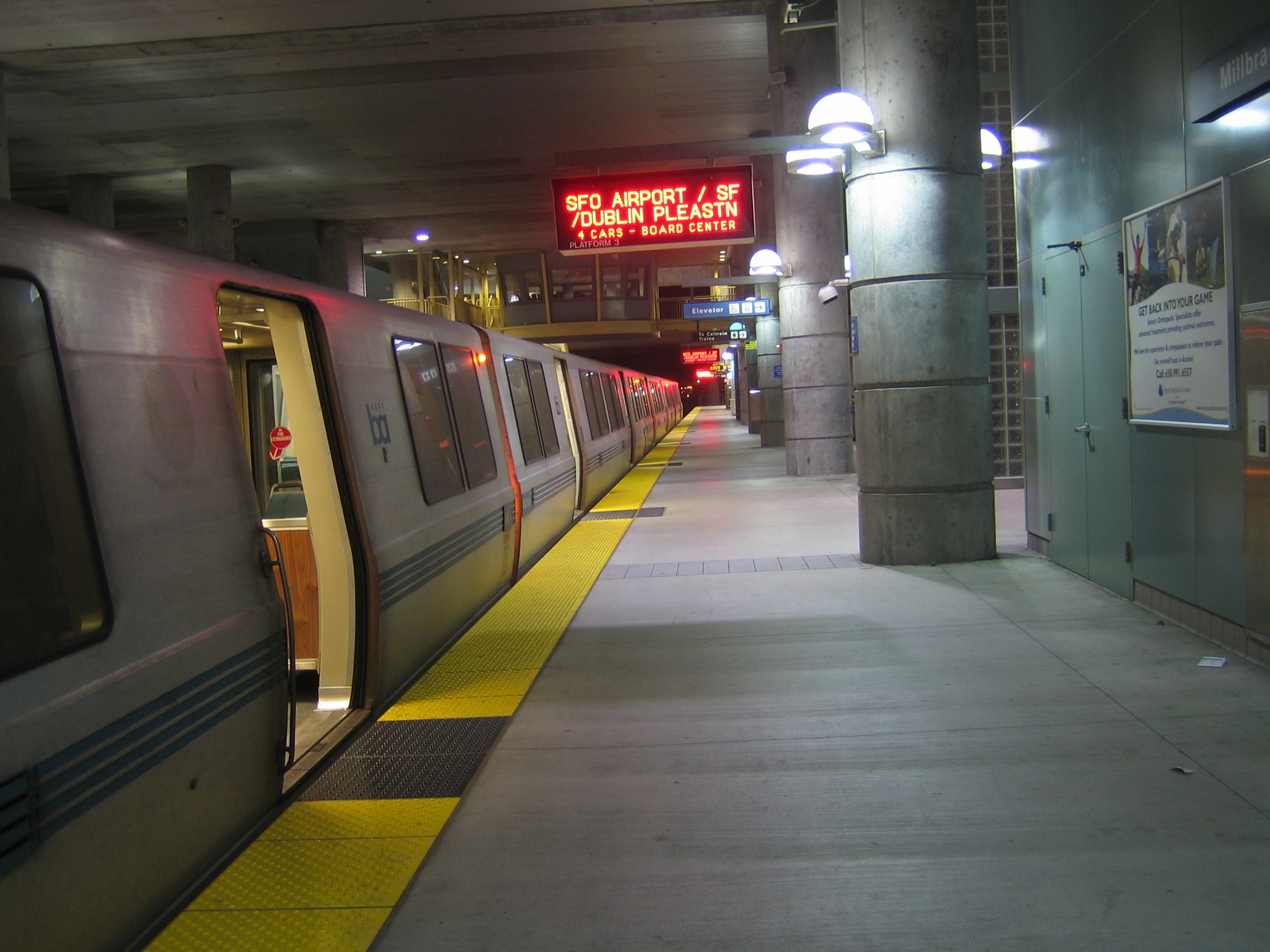 BART train heading for SFO Airport