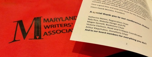 Maryland Writer's Association bag and 2018 conference booklet