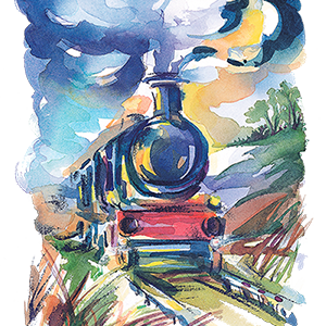 The lovely Glimmer Train watercolor illustration from their web site