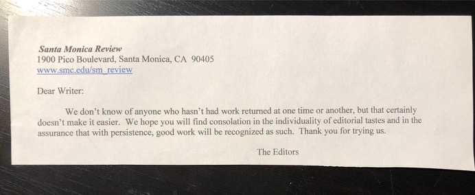 Mailed rejection from Santa Monica Review, Fall 2018