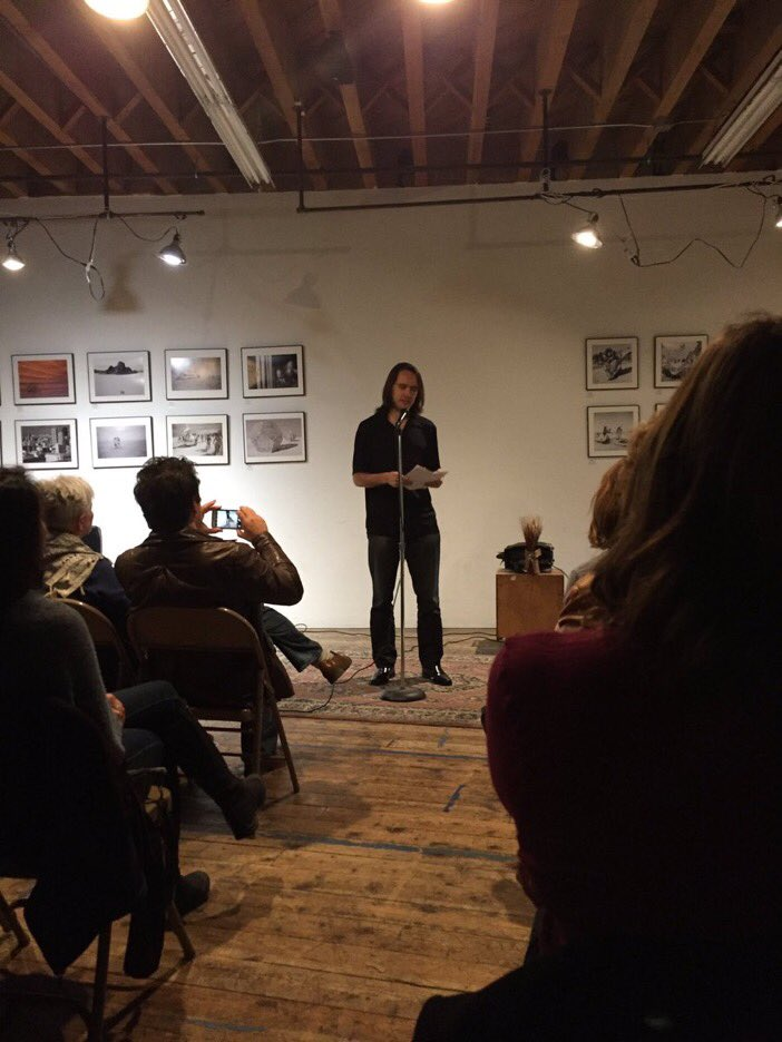 "Arthur Klepchukov reading ""The Price of Chivalry"" at Lit Camp's Basement Series on November 4, 2016"