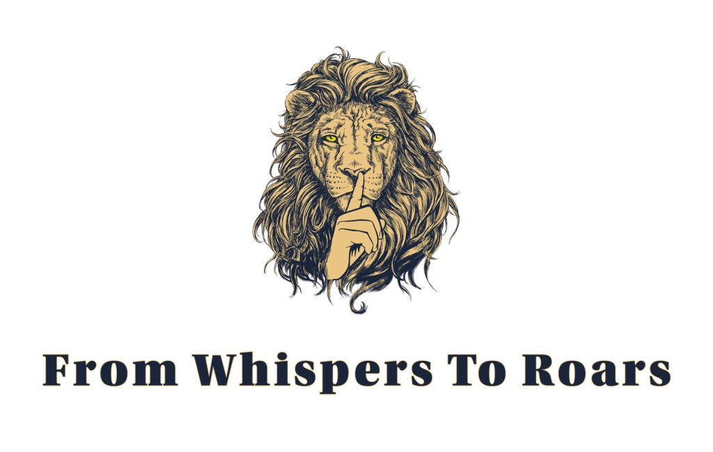 From Whispers to Roars literary journal logo with hand shushing a lion