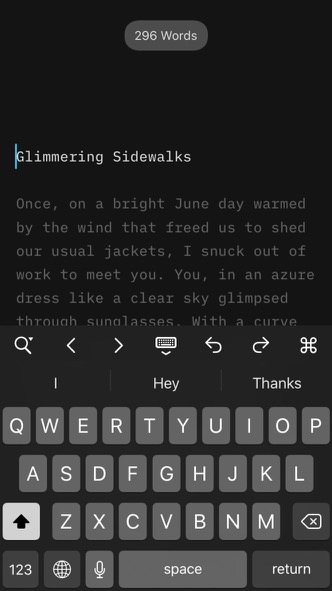 "Screenshot of ""Glimmering Sidewalks"" in iA Writer"